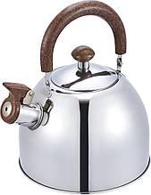 Чайник со свистком из нержавеющей стали Benson BN-712 (3 л), нейлоновая ручка   свистящий чайник