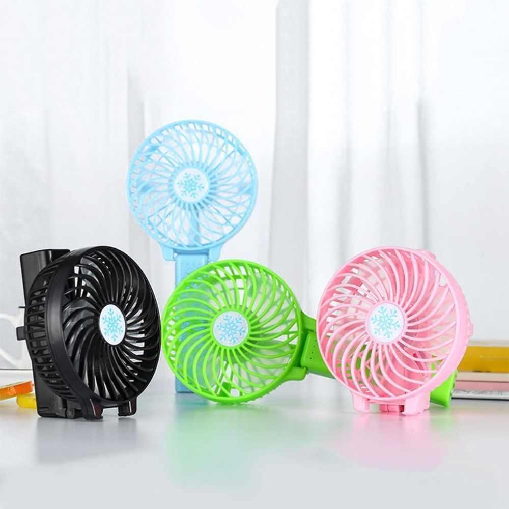 Портативный ручной или настольный мини вентилятор с USB зарядкой Mini Fan розовый
