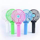Портативный ручной или настольный мини вентилятор с USB зарядкой Mini Fan розовый, фото 9