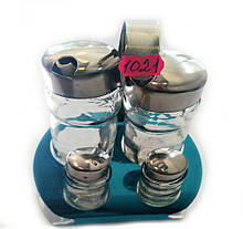 Набір сіль/перець Benson BN-1021 | набір для спецій на підставці | солонка і перечниця Бенсон