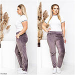 Женские велюровые утеплённые штаны (Батал), фото 3