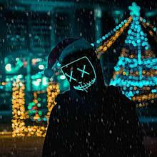 """Світиться неонова LED маска """"Судно ніч"""" помаранчева   лід маска для вечірок світиться неоном в темряві"""