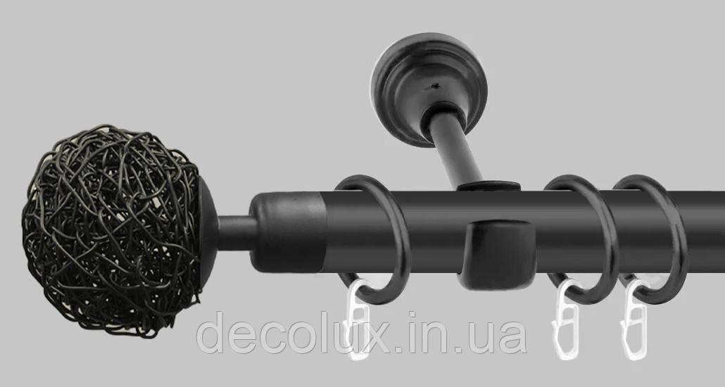 Черный матовый Карниз для штор металлический, однорядный 19 мм (комплект) Мивина
