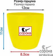Вазон для цветов Алеана Матильда 12*11см желтый 0,9л (Горшок для цветов пластиковый Алеана Матильда), фото 2