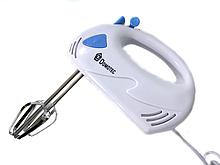 Ручной кухонный миксер Domotec MS-1355 7 скоростей, 2 вида венчиков   белый миксер Домотек