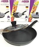 Сковорода с антипригарным мраморным покрытием с крышкой Benson BN-342 (28 см)   сковородка Бенсон, фото 2