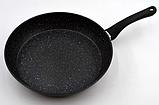 Сковорода с антипригарным мраморным покрытием с крышкой Benson BN-342 (28 см)   сковородка Бенсон, фото 3