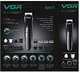 Професійна машинка для стрижки волосся з насадками VGR V-012 | триммер для волосся | бодигрумер, фото 2