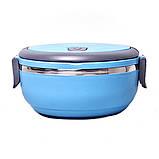 Ланч-бокс Benson BN-042 (700 мл) синий | контейнер для еды Бенсон | ланчбокс Бэнсон, фото 5