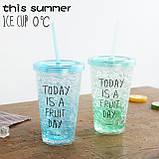 Стакан поликарбонатный охлаждающий с трубочкой ICE CUP Benson BN-284 голубой   бутылочка со льдом Бенсон, фото 5