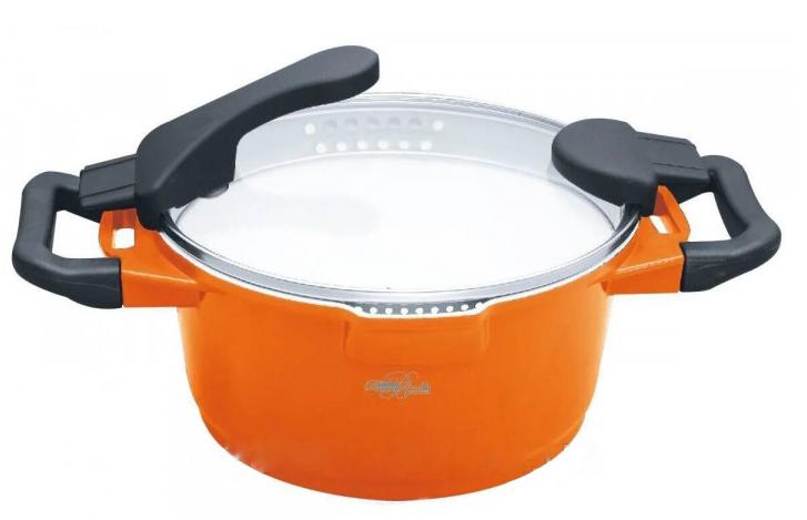 Кастрюля Barton Steel BS 4024 3,8 л с керамическим покрытием Оранжевая | Соковарка для приготовления сока