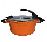 Кастрюля Barton Steel BS 4024 3,8 л с керамическим покрытием Оранжевая | Соковарка для приготовления сока, фото 2