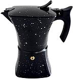 Гейзерна кавоварка з литого алюмінію на 6 чашок Benson BN-148 чорна | турка Бенсон, Бэнсон, фото 2