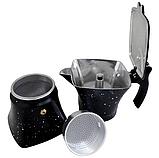 Гейзерна кавоварка з литого алюмінію на 6 чашок Benson BN-148 чорна | турка Бенсон, Бэнсон, фото 3