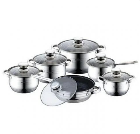 Набор кухонной посуды Bohmann ВН 70613-12 12 предметов 4 кастрюли ковш сковорода с крышками