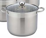 Набір кухонного посуду Con Brio CB-1153 6 3 предмета каструлі з кришками, фото 3