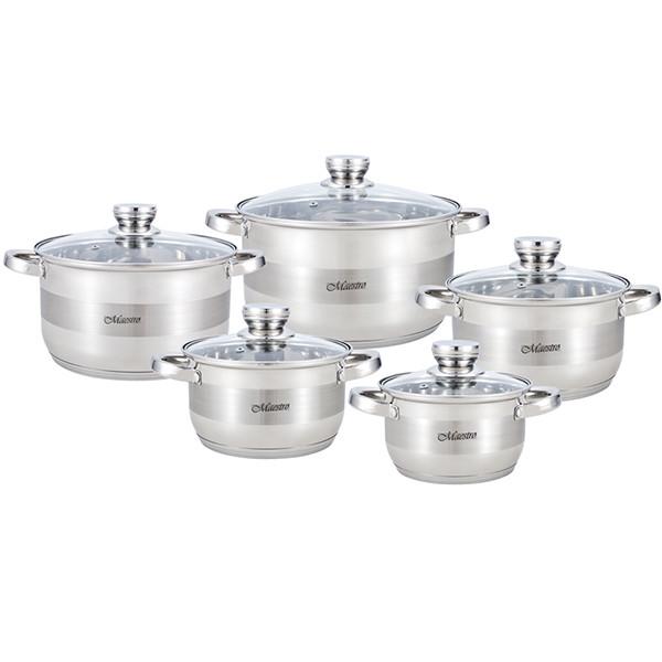 Набір посуду Maestro MR-2220-10, 10 предметів, нержавіюча сталь, всі типи плит | каструлі Маестро, Маестро