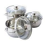 Набор посуды Maestro MR-3510-6L, 6 предметов, нержавеющая сталь | кастрюли с крышками Маэстро, Маестро, фото 6