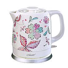 Керамический электрочайник Maestro MR-068 (1,5 л,1200 Вт) бело-розовый   электрический чайник Маэстро, Маестро