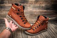 Мужские кожаные зимние ботинки рыжего цвет ана шнуровке