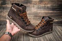 Коричневые зимние ботинки на шнуровке мужские CAT (репліка) 40-45р