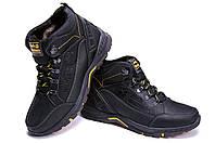 Зимние ботинки из натуральной кожи на шнуровке черные Jack Wolfskin (репліка), спортивные кроссовки