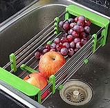 Складна багатофункціональна кухонні полку Kitchen Drain Shelf Rack | Сушарка для посуду на раковину, фото 2