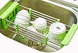 Складна багатофункціональна кухонні полку Kitchen Drain Shelf Rack | Сушарка для посуду на раковину, фото 4