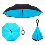 Ветрозащитный зонт Up-Brella | антизонт | зонт обратного сложения | зонт наоборот Голубой, фото 3
