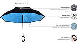 Ветрозащитный зонт Up-Brella | антизонт | зонт обратного сложения | зонт наоборот Голубой, фото 4