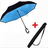 Ветрозащитный зонт Up-Brella | антизонт | зонт обратного сложения | зонт наоборот Голубой, фото 5