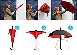 Ветрозащитный зонт Up-Brella | антизонт | зонт обратного сложения | зонт наоборот Голубой, фото 6