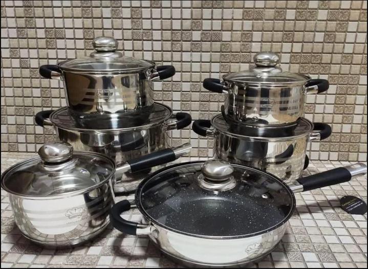 Набір посуду German Family 12 предметів нержавіюча сталь силіконові ручки (каструлі, сотейник, сковорода)