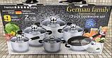 Набір посуду German Family 12 предметів нержавіюча сталь силіконові ручки (каструлі, сотейник, сковорода), фото 2