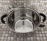Набір посуду German Family 12 предметів нержавіюча сталь силіконові ручки (каструлі, сотейник, сковорода), фото 3