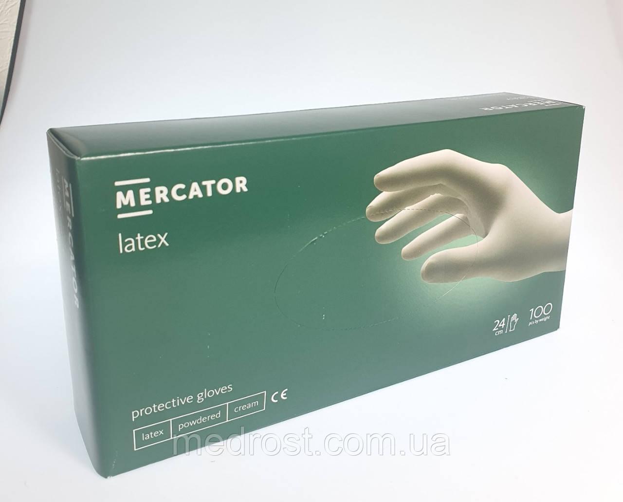 Рукавички латексні опудренниє MERCATOR Latex M (Малайзія)