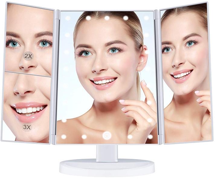 Зеркало для макияжа с подсветкой Led Miror тройное