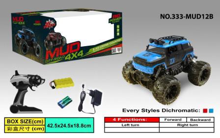 Джип на радіоуправлінні 4x4 Mud Off-Road  відкритий верх гум колеса 333-MUD12B/13B/14B