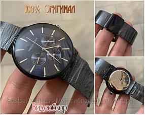 Часы оригинальные мужские наручные кварцевые Megalith 0047M-6 Black-Blue / часы оригинальные черные