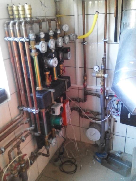 Котельная - конденсационный газовый котел Vaillant + твердотопливный котел ОРОР (дрова + уголь) 1