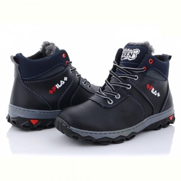 Зимние ботинки на шнуровке черного цвета эко кожа, для подростка