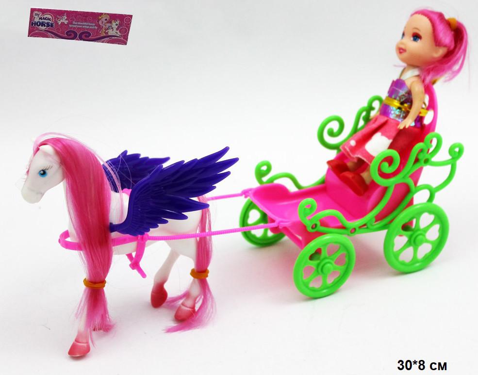 Лялька маленька типу Барби з каретою та коником в пакеті  ZHA14