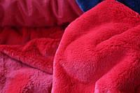 Штучне хутро, колір червоний класичний, короткий ворс (імітація хутра кроля) №3002