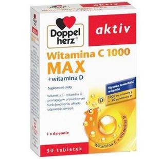 Doppelherz Aktiv, Витамин С 1000 мг Макс + витамин D 20 мкг, 30 таблеток
