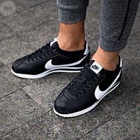 Мужские кроссовки Nike Cortez mens Black White / Найк Кортез черные с белым кожаные