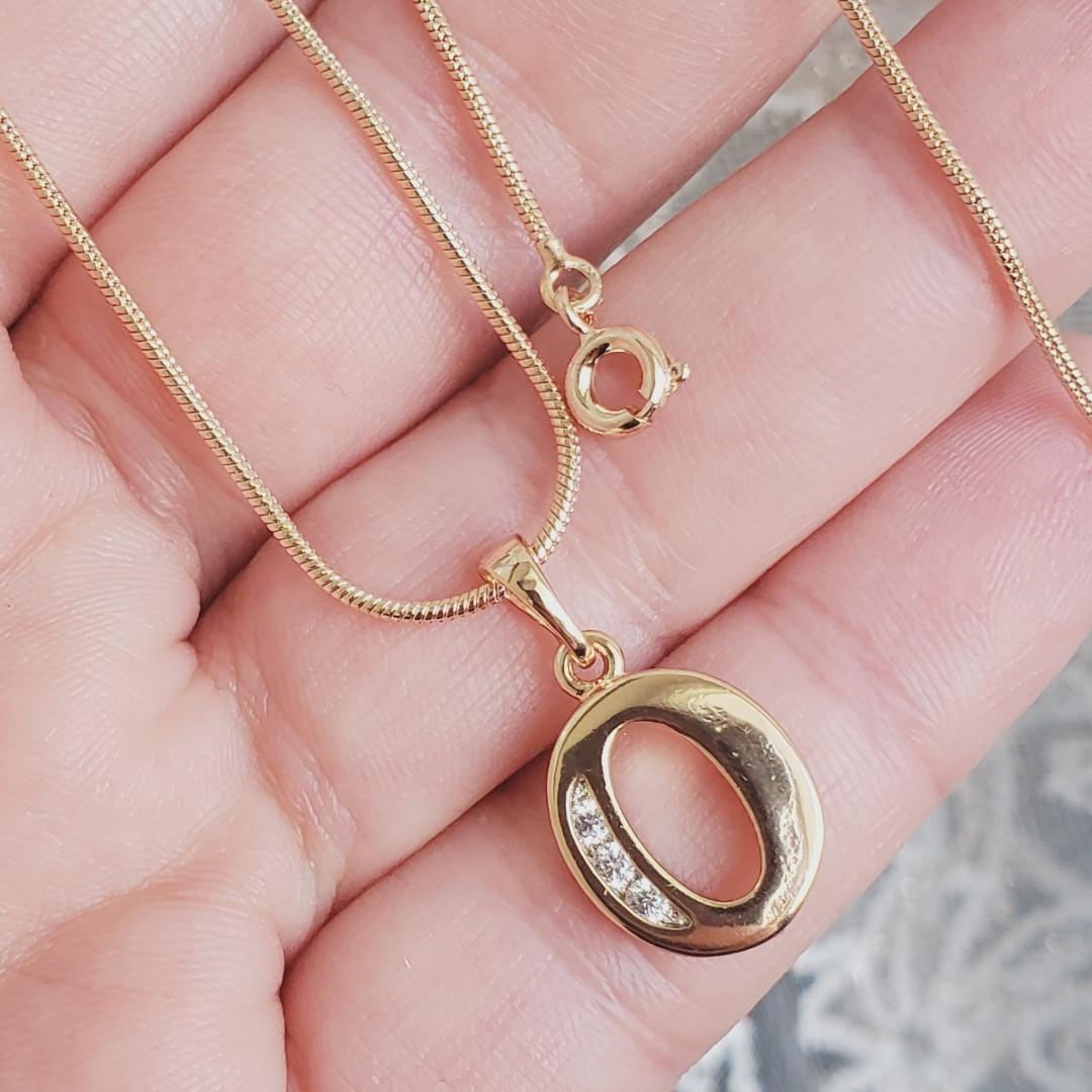 Кулон літера О з ланцюжком снейк 1мм 50см xuping медичне золото позолота 18К  5288