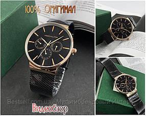 Часы оригинальные мужские наручные кварцевые Megalith 0047M-6 Black-Gold / часы оригинальные черные