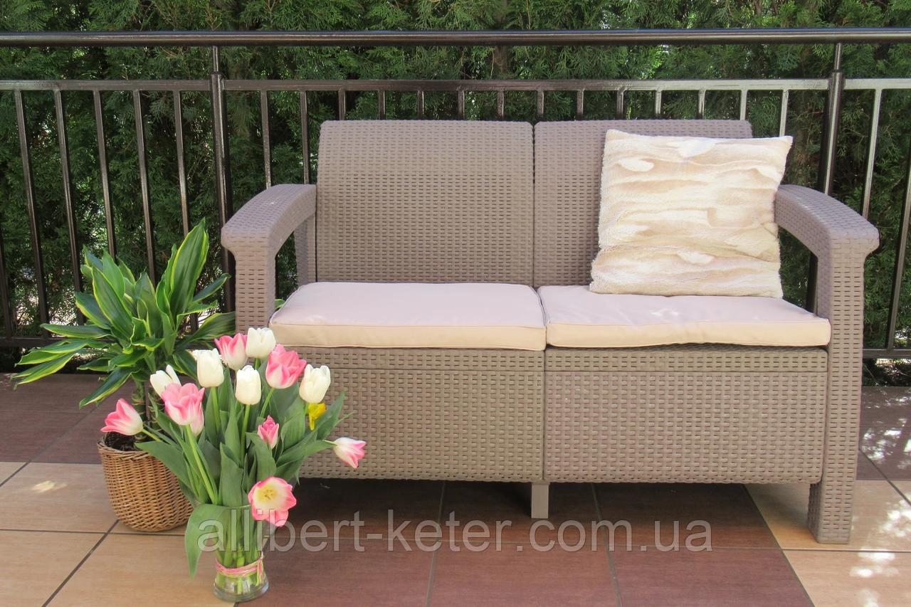 Диван софа для сада и террасы Allibert by Keter Corfu Love Seat искусственный ротанг