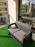 Диван софа для сада и террасы Allibert by Keter Corfu Love Seat искусственный ротанг, фото 4