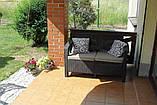 Диван софа для сада и террасы Allibert by Keter Corfu Love Seat искусственный ротанг, фото 8